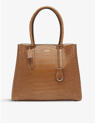Smythson Mara Ciappa crocodile-embossed leather business bag