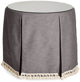 One Kings Lane Eden Round Skirted Table - Charcoal - upholstery, charcoal; glass, clear
