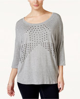 Belldini Plus Size Studded Scoop-Neck Top