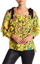 Nicole Miller Off-the-Shoulder Print Silk Blouse