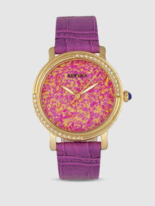 Bertha Watches Courtney Cross Embossed Leather Watch