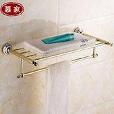 KHSKX European vacuum zirconium copper-gold bathroom accessories bathroom towel bar blue-and-white ceramic Towel rack 600*265mm