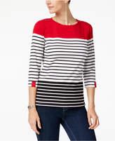 Karen Scott Colorblock Striped T-Shirt, Created for Macy's