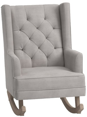 Pottery Barn Kids Modern Tufted Wingback Convertible Rocking Chair & Ottoman