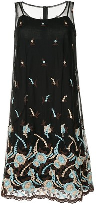 Comme Des Garçons Pre Owned Pre-Owned Floral Embroidered Sheer Dress