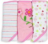 SpaSilk Baby Stripe/Flower/Print 3-Count Terry Hooded Towel in Pink