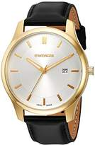 Wenger Men's 'City Classic' Swiss Quartz Gold-Tone and Leather Casual Watch, Color:Black (Model: 01.1441.106)