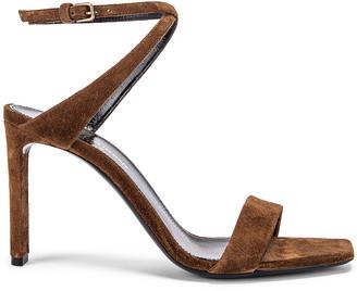 Saint Laurent Bea Bow Ankle Strap Sandals in Land | FWRD