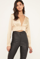 Missguided Nude Button Front Satin Cropped Blouse