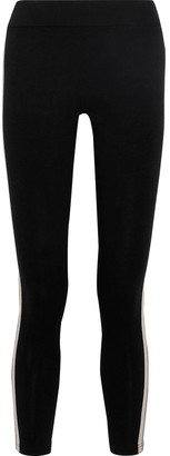 Monrow Striped Stretch-cotton Jersey Leggings