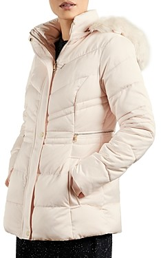 Ted Baker Faux Fur Trim Hooded Puffer Coat