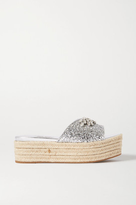 Miu Miu Crystal-embellished Glittered Leather Espadrille Platform Slides - Silver