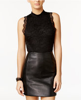 Material Girl Mock-Neck Lace Bodysuit, Only at Macy's