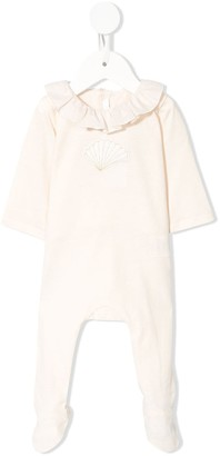 Chloé Kids Shell Embroidered Ruffle Neck Pyjamas