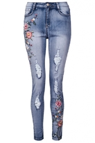 Quiz Light Blue Flower Embroidered Skinny Jeans