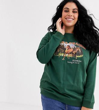 Daisy Street Plus relaxed sweatshirt with paynes prairie print