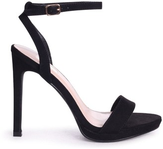 Linzi HIGHER LOVE - Black Suede Open Back Barely There Stiletto Sandal