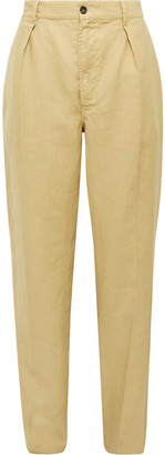 Drakes Pleated Linen Suit Trousers