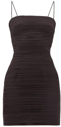 Rasario Ruched Silk-chiffon Mini Dress - Black