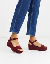 Asos DESIGN Tallie flatform sandals in berry