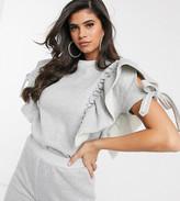 Naanaa NaaNaa frill short sleeve sweatshirt co ord in grey marl