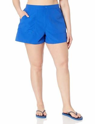 Maxine Of Hollywood Women's Plus Size Solid Woven Boardshort with Built-in Brief