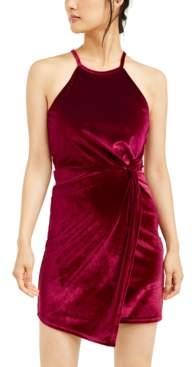 Crystal Doll Juniors' Velvet Knot-Front Dress