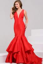 Jovani V Neck Sleeveless Mermaid Evening Gown 37153