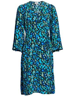 Ganni Floral Silk Blend Wrap Dress