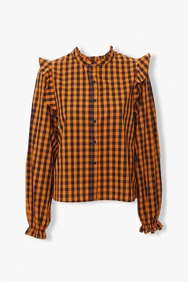 Forever 21 Gingham Ruffle-Trim Shirt