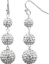 JCPenney FINE JEWELRY Crystal-Accent Sterling Silver Fireball Drop Earrings