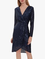 Gina Bacconi Erica Sequin Wrap Dress