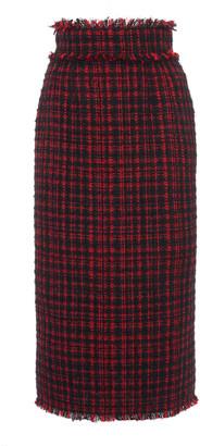 Dolce & Gabbana Fringe-Trimmed Tweed Pencil Skirt