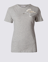 Per Una Cotton Rich Sequin Wings T-Shirt