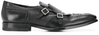 Henderson Baracco Double Buckle Cut-Out Detail Monk Shoes