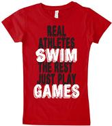 Micro Me Red 'Real Athletes Swim' Crewneck Tee - Toddler & Girls