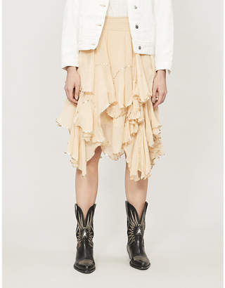 Free People Hankerchief ruffle metallic-trim cotton skirt