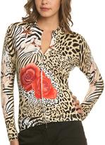 Le Mieux Beige & White Leopard Rose Zip-Up Jacket