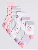 Marks and Spencer 5 Pairs of FreshfeetTM Cotton Rich Socks (1- 6 Years)