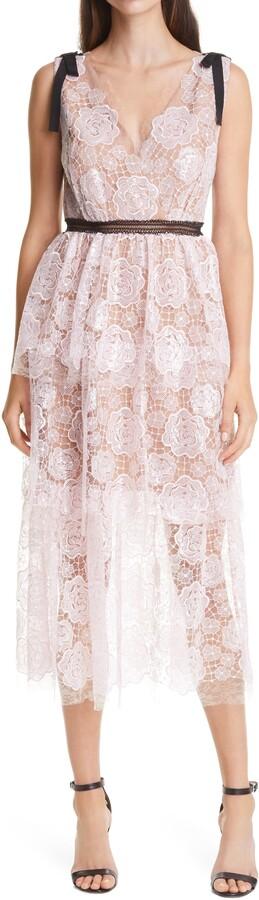 Self-Portrait Starlet Sequin Rose Lace Sleeveless Dress
