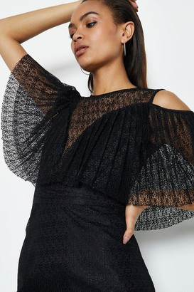 Coast Pleated Lace Bodice Dress