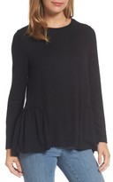 Caslon Petite Women's Cozy Back Peplum Top