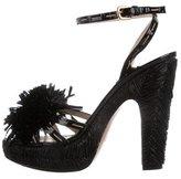 Prada Raffia Platform Sandals