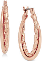 Charter Club Rose Gold-Tone Textured Twist Hoop Earrings, Only at Macy's