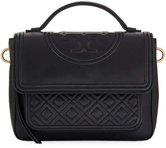 Tory Burch Fleming Stitched Leather Satchel Bag