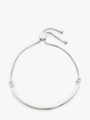 John Lewis & Partners Sparkle Curved Bar Slider Chain Bracelet