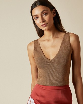 Ted Baker Skinny Ribbed V Neck Top