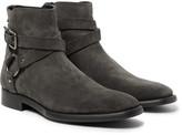 Dolce & Gabbana Suede Harness Boots - Dark gray