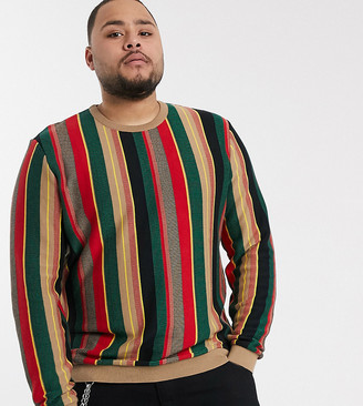 Asos Design DESIGN Plus jumper in textured vertical stripe in green and red-Multi