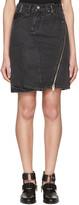 3.1 Phillip Lim Black Asymmetric Zip Denim Miniskirt